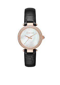 Michael Kors Rose Gold-Tone Black Mini Parker Leather Watch