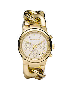 Michael Kors Mid-Size Gold Tone Stainless Steel Runway Twist Chronograph Watch