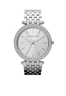 Michael Kors Mid-Size Silver Tone Stainless Steel Pippa Three Hand Glitz Watch