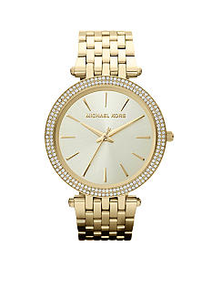 Michael Kors Mid-Size Gold Tone Stainless Steel Darci Three Hand Glitz Watch