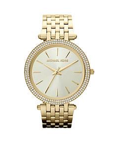 Michael Kors Mid-Size Gold-Tone Stainless Steel Darci Three-Hand Glitz Watch