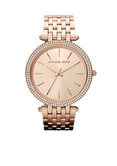 Michael Kors Mid-Size Rose Gold Tone Stainless Steel Darci Three Hand Glitz Watch