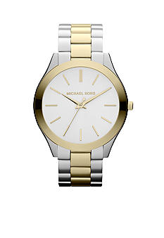 Michael Kors Mid-Size Silver-Tone and Gold-Tone Stainless Steel Slim Runway Three-Hand Watch