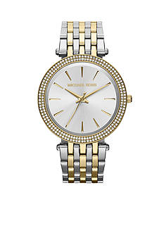 Michael Kors Women's Mid-Size Gold Tone and Silver Tone Stainless Steel Darci Three-Hand Glitz Watch