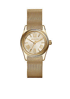 Michael Kors Mini-Size Gold Tone Stainless Steel Mesh Petite Lexington Three-Hand Watch