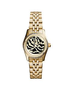 Michael Kors Gold Tone Zebra Dial Petite Lexington Watch