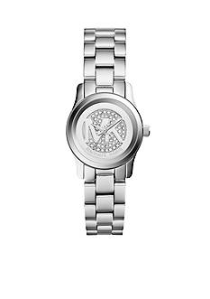 Michael Kors Stainless Steel Pave and Logo Dial Petite Runway Watch