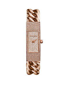 Michael Kors Rose Gold-Tone Pave Case and Dial Hayden Watch