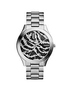 Michael Kors Stainless Steel Slim Runway Black Zebra Dial Watch