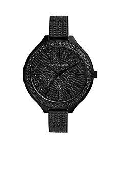 Michael Kors Black IP Pave Detail Slim Runway Watch