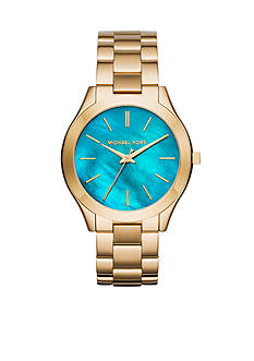 Michael Kors Women's Slim Runway Gold-Tone 3 Hand Watch