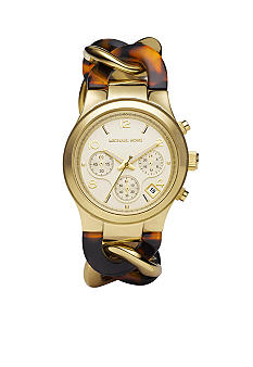 Michael Kors Mid-Size Yellow Gold Tone Stainless Steel and Tortoise Acetate Runway Watch
