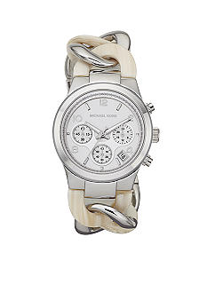Michael Kors Mid-Size Alabaster Acetate and Silver Tone Stainless Steel Runway Twist Chronograph Watch<br>