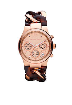 Michael Kors Mini-Size Rose Gold-Tone Stainless Steel and Tortoise Acetate Runway Chronograph Watch
