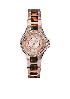 Michael Kors Rose Gold Tone and Tortoise Acetate Petite Camile Watch