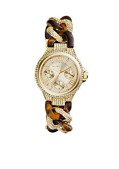 Michael Kors Gold Tone and Tortoise Acetate Mini Camille Watch