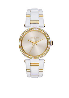 Michael Kors Women's Gold Tone and White Acetate Delray Watch