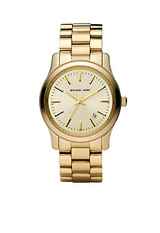 Michael Kors Mid-Size Gold Tone Stainless Steel Runway Three-Hand Watch