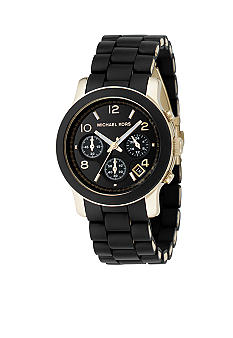 Michael Kors Women's Chronograph Black Rubber Coated Gold-Tone Stainless Steel Watch