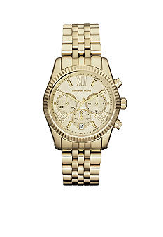 Michael Kors Mid-Size Gold Tone Stainless Steel Lexington Chronograph Watch<br>
