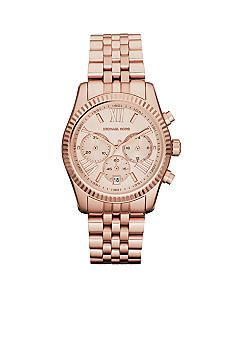 Michael Kors Mid-Size Rose Gold Tone Stainless Steel Lexington Chronograph Watch