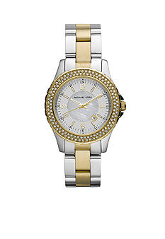 Michael Kors Mini-Size Silver and Gold Tone Stainless Steel Madison Three-Hand Glitz Watch<br>