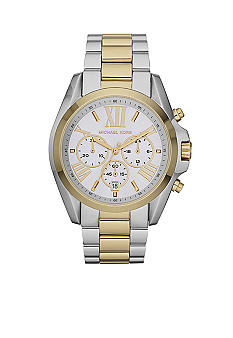 Michael Kors Mid-Size Silver and Gold Tone Stainless Steel Bradshaw Chronograph Watch