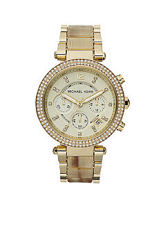 Michael Kors Mid-Size Horn Acetate and Gold Tone Stainless Steel Parker Chronograph Glitz Watch