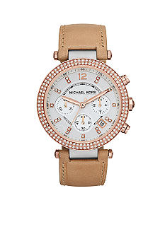 Michael Kors Mid-Size Vachetta Leather and Rose Gold and Silver Tone Stainless Steel Parker Chronograph Glitz Watch<br>