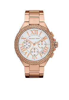 Michael Kors Mid-Size Rose Gold Tone Stainless Steel Camille Chronograph Glitz Watch