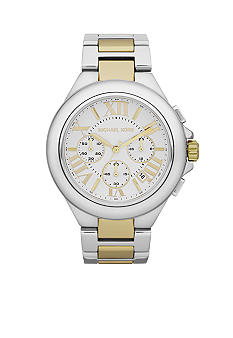 Michael Kors Mid-Size Silver and Gold Tone Stainless Steel Camille Chronograph Watch<br>