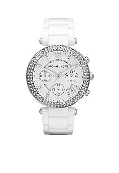 Michael Kors Mid-Size White Ceramic Parker Chronograph Glitz Watch