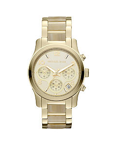 Michael Kors Mid-Size Horn Acetate and Gold Tone Stainless Steel Runway Chronograph Watch