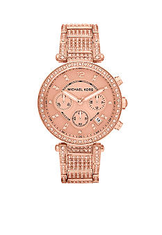 Michael Kors Mid-Size Rose Gold Tone Stainless Steel Parker Chronograph Glitz Watch