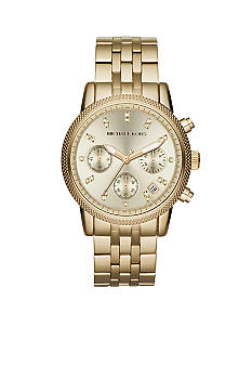 Michael Kors Mid-Size Gold Tone Stainless Steel Ritz Chronograph Glitz Watch<br>
