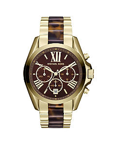 Michael Kors Mid-Size Gold Tone Stainless Steel and Tortoise Acetate Bradshaw Chronograph Watch