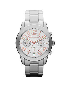 Michael Kors Mid-Size Silver Tone Stainless Steel Mercer Chronograph Watch