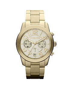 Michael Kors Mid-Size Gold Tone Stainless Steel Mercer Chronograph Watch