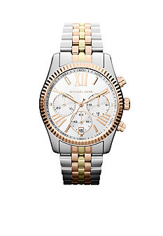 Michael Kors Mid-Size Tri-Tone Stainless Steel Lexington Chronograph Watch