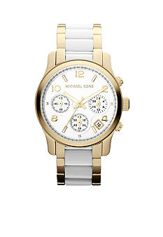 Michael Kors Mid-Size Gold-Tone Stainless Steel and White Acetate Runway Chronograph Watch