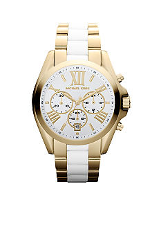 Michael Kors Mid-Size Gold-Tone Stainless Steel and White Acetate Bradshaw Chronograph Watch
