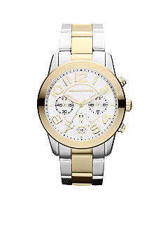 Michael Kors Mid-Size Silver-Tone and Gold-Tone Stainless Steel Mercer Chronograph Watch