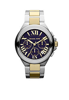Michael Kors Mid-Size Silver-Tone and Gold-Tone Stainless Steel Camille Chronograph Watch