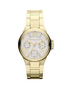 Michael Kors Mini-Size Gold-Tone Stainless Steel Camille Three-Hand Glitz Watch