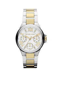 Michael Kors Mini-Size Silver-Tone and Gold-Tone Stainless Steel Camille Three-Hand Glitz Watch