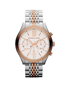 Michael Kors Mid-Size Silver-Tone and Rose Gold-Tone Stainless Steel Brookton Chronograph Watch