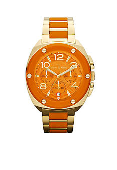 Michael Kors Ladies Gold-Tone Stainless Steel and Orange Silicone Tribeca Chronograph Watch