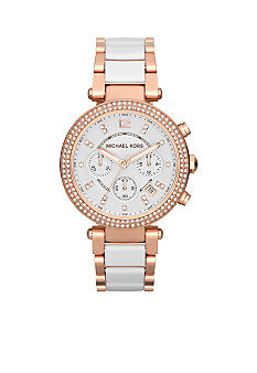 Michael Kors Mid-Size White Acetate and Rose Gold Tone Stainless Steel Parker Chronograph Glitz Watch