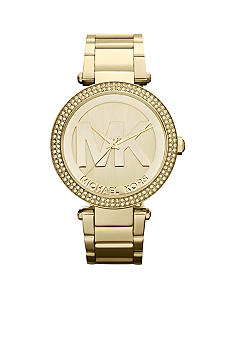 Michael Kors Midsize Gold-Tone Stainless Steel Parker Logo Glitz Exclusive Anniversary Watch