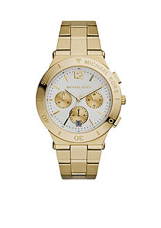 Michael Kors Mid-Size Gold Tone Stainless Steel Wyatt Chronograph Watch